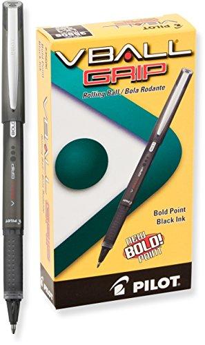 PILOT VBall Grip Liquid Ink Rolling Ball Stick Pens, Bold Point, Black Ink, 12-Pack (35606)