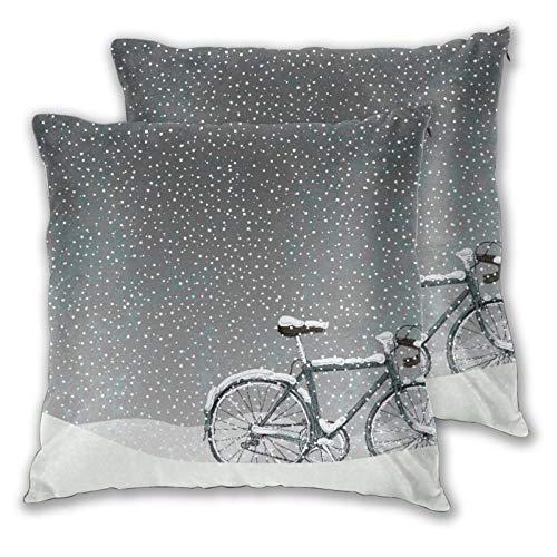 CONICIXI 2 Pack Funda de Almohada Bicicleta Cubierta de Nieve Clima frío Paisaje estacional Tranquilo Floral Inspirado en Navidad Lino Suave Cuadrado Sofá Cama Decoración Hogar para Cojín 60cm x 60cm