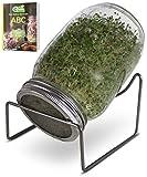 Green SEEDS es un Juego de 1 Frasco de 1000 ml, para Hacer brotes de Soja, con Tapa de Rejilla de Acero Inoxidable, Soporte + ABC de brotes Gratis [E-Book]