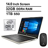 2020 Newest HP Pavilion 14 Inch Laptop (10th Gen Intel Core i3-1005G1 (Beats i5-7200U), 32GB RAM, 1TB SSD, Webcam, Windows 10 Home) (Gold) + NexiGo Wireless Mouse Bundle
