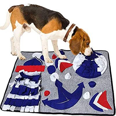 SenYoung Dog Snuffle Mat, Puzzle Dog Feeding Snuffle Mat for Amell Training Nose Work Blanket and Stress Release, Home Durable Dog Food Bowl Mat,Interactive Dog Toys, Reusable Washable (Gray)