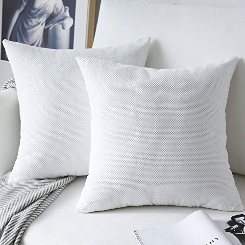 NATUS WEAVER 2 Piece Waffle Pattern Corduroy Euro Sham Couch Throw Pillow Cover for Chair, 24 x 24 inch (60 cm), White