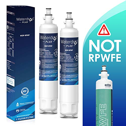 Waterdrop WDP Refrigerator Water Filter, Compatible with GE RPWF(Not RPWFE), Reduces Lead, Chlorine, Benzene and More, NSF 401&53&42 Certified, Pack of 2, 2 Pack