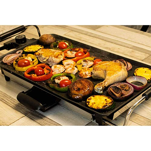 Teppantastic Electric Indoor BBQ Grill Plate - Non-Stick Large Cooking Plate with Adjustable Thermostat Control, 8 Spatulas and Cool Touch Handles, Entertaining Dinner Parties by Jean Patrique