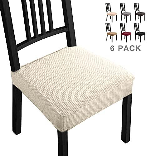 Fundas para sillas Pack de 6 Fundas sillas Comedor Fundas elásticas, Fundas de Asiento para Silla,Diseño Jacquard Cubiertas de la sillas,Extraíbles y Lavables-Decor Restaurante (Paquete de 6,Cream)-B