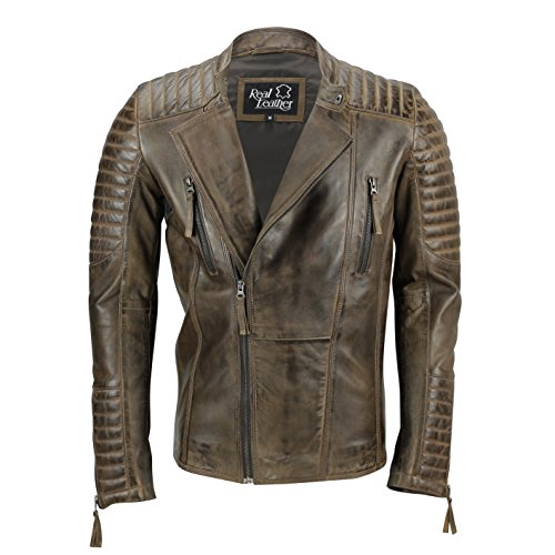 Xposed - Chaqueta de cuero para hombre, estilo vintage, estilo vintage, estilo vintage, con cremallera, color marrón