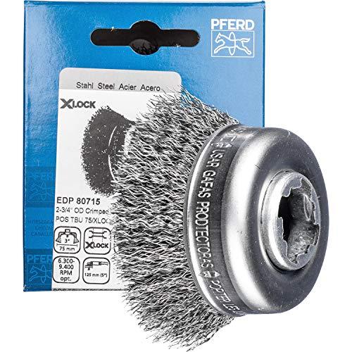 PFERD 43468922 Brosse à casseroles non torsadée Ø 60 mm Fil d'acier 0,30 mm Prise X-LOCK pour un changement d'outil rapide et confortable