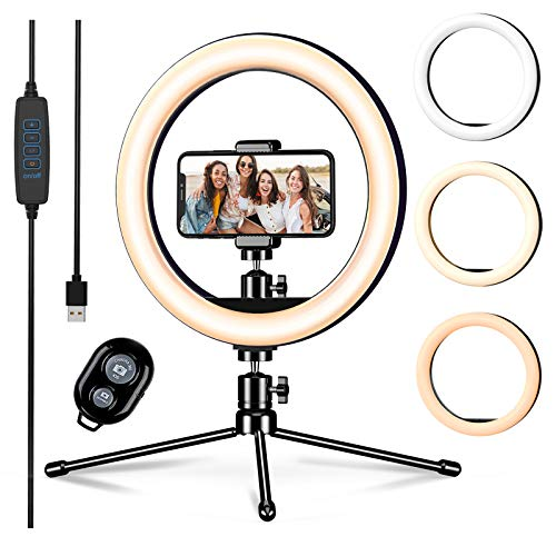 LETSCOM 10-inch Led Ring Light with Tripod Stand & Phone Holder, Dimmable Desk Selfie Ringlight for Makeup YouTube TIK Tok Video Live Streaming Photography, 3 Light Modes & 10 Brightness Levels