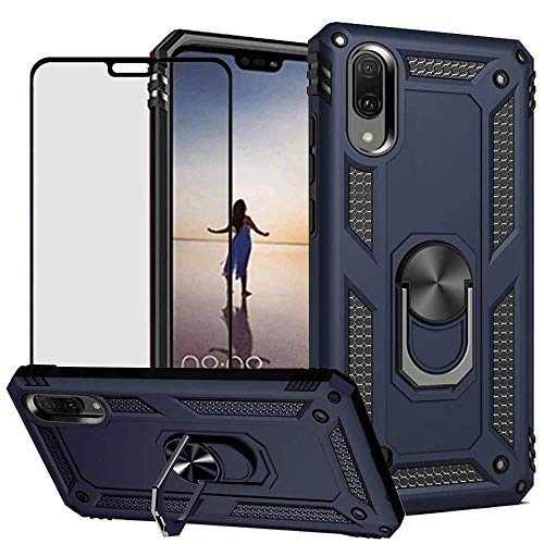 DuoLide for Huawei Y9 2019 / Enjoy 9 Plus Case with Tempered Glass Screen Protector,Hybrid Heavy Duty Dual Layer Anti-Scratch Shockproof Defender Kickstand Armor Case Cover, Blue