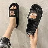 ypyrhh Sandalias ajustables de comodidad casual, zapatillas frías de piel suave, antideslizantes para masajes, color negro, D_36, sandalias para interiores y exteriores