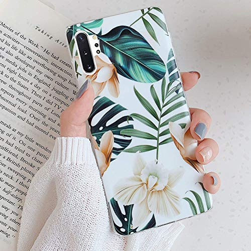 Herbests Kompatibel mit Samsung Galaxy Note 10 Plus Hülle Handyhülle Weich Silikon Schutzhülle Durchsichtige Hülle mit Motiv Blumen Blätter Ultra Dünn Silikon Bumper Rückschale Case,Weiß Blumen