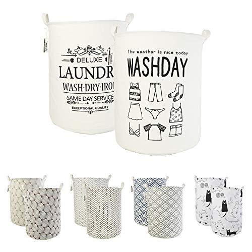 """LessMo 2PCS 17.7"""" Clasificador de Almacenamiento de canastas de lavandería, cestos de lavandería Plegables, Ropa de algodón Redonda Impermeable (Ropa, 17.7"""")"""