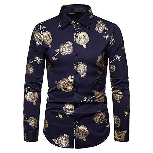qulvyushangmaobu Camisa Floral para Hombres Camisa de Vestir de Manga Larga con Estampado de Rosas Doradas Floral para Hombres Camisa Floral de algodón Dorado de Manga Larga Botón Retro Informal