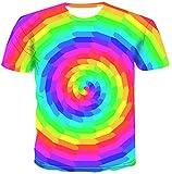 NONANA Summer 3D Color T Shirt Hypnotic Color Tshirt Unisex Leisure Cool T-Shirt,Dz-010,5X-Large