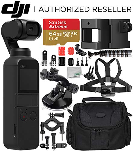 DJI Osmo Pocket Gimbal with Essential Action Accessory Bundle – Includes: SanDisk Extreme 64GB microSDXC Memory Card + DJI Accessory Mount + Flexible Gripster Tripod + Suction Cup Mount + More