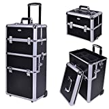 AW Classic Black Rolling Makeup Case 2in1 Cosmetic Lockable Trolley Makeup Artist Travel Train Case Storage