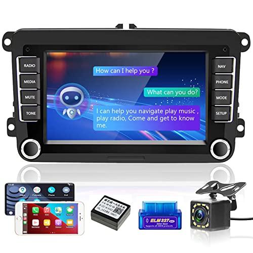 Android Radio de Coche 2 DIN para VW con Carplay y Android Auto, AI Inteligente de Voz Pantalla táctil de 7 Pulgadas...