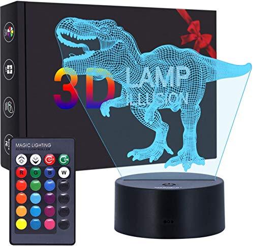 Luces de ilusión 3D,7 colores Acrílico Plano LED Sensitive Touch Sensor Lámpara Cargador usb luz nocturna Touch botón regalo creativo casa oficina decoració,regalo de Valentín (Dinosaurio)
