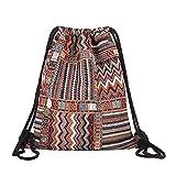 Van Caro Bohemian Drawstring Backpack Light Cinch Bag Gym Sack String Bag (Color 1)