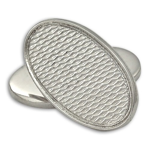 Boutons de Manchette Ovales Ondulés en Argent 925/1000 - A Chaînette
