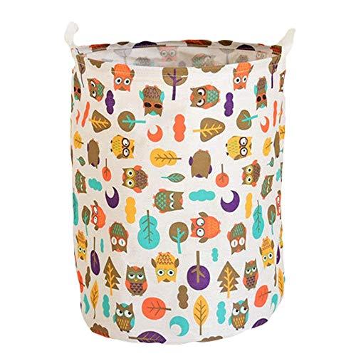 KKGASSAB Gran Canasta de lavandería para Dormitorio Estilo Pastoral Dibujos Animados búho algodón Ropa de Almacenamiento cucharón Grande lavandería Cesta Juguete Ropa Sucia Ropa