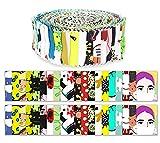 Soimoi 40 Unids Manténgase Al Hogar Pandemic Print Fabrics Threits Strips Roll Up 1.5 Pulgadas Rollos De Jalea De Algodón Para Acolchar - Multicolor