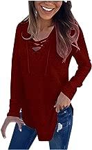 Aniywn Women's Hooded V-Neck Lace Up Long Sleeve Pullover Tops T-Shirt Autumn Lightweight Sweatshirt Top