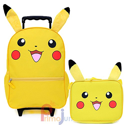 Pokemon Pikachu 16' Large School Roller Backpack Lunch Bag 2pc Set with Plush Ear
