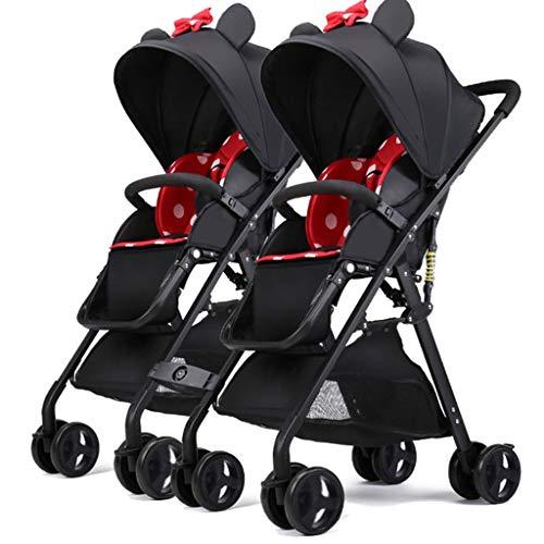 LOMJK Carritos y sillas de Paseo Twin Stroller High Landscape Stroller Can...
