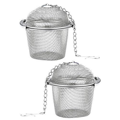 Gobesty Bola de colador de té para té suelto, 2 piezas Colador de infusor de bola de té de acero inoxidable, Infusor de bola de té, Colador de té con cadena para té suelto