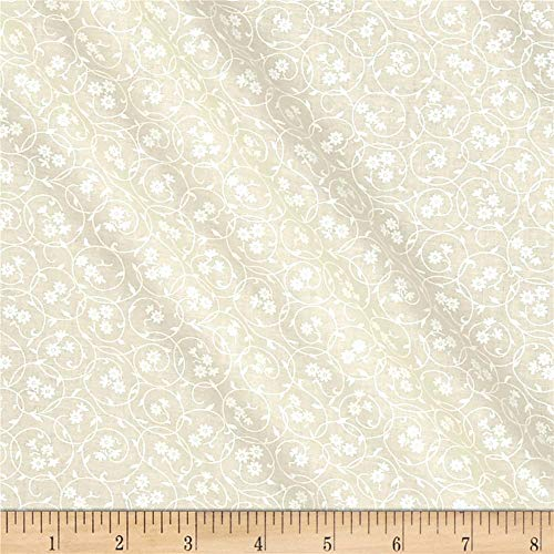 Santee Print Works Classic Tone on Tone Floral Circles White/Tan Quilt Fabric by the Yard, White/Tan
