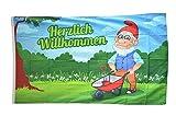 Fahne / Flagge Herzlich Willkommen Gartenzwerg + gratis Sticker, Flaggenfritze®