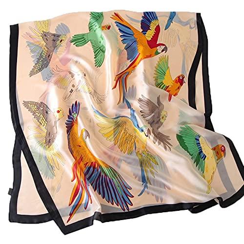 XiaoYing Ropa accesorios para mujer verano protector solar turbante impreso bufanda de seda toalla playa playa grande chal (color: A, tamaño: 180 x 90 cm)