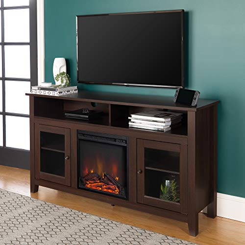 Walker Edison Furniture Company Tall Rustic Wood Fireplace Stand for TV's up to 64' Living Room Storage, 32 Inches, Espresso