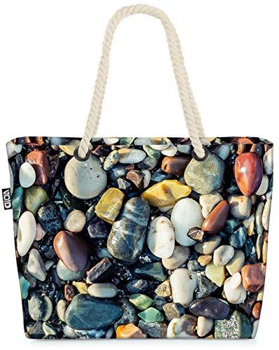 VOID Steinstrand Bunte Kiesel Strandtasche Shopper 58x38x16cm 23L XXL Einkaufstasche Tasche Reisetasche Beach Bag