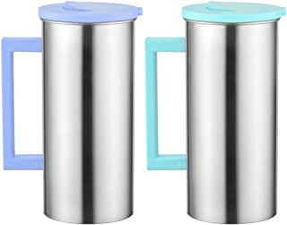 VANKOA Stainless Steel Pitcher With Lid and Spout [61 Ounce/Green & Blue, 2-Pack] Great for Homemade Juice & Iced Tea or for Glass Milk Bottles