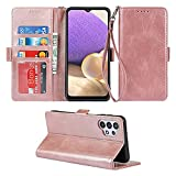 Supdigital Case for Samsung Galaxy A32 5G Wallet Case [Not for A32 4G], [Stand Feature] with Wrist Strap PU Leather Phone Case with Card Holder and Flip Cover for Samsung Galaxy A32 6.5' (Rose Gold)