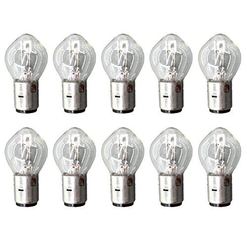 AISEN 10x Glühlampe Birnen Lampe B35 BA20D 12V 35 / 35W für Motorradroller Roller Motorrad ATV Zweirad