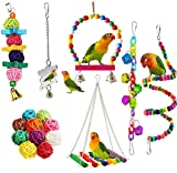 Bird Parrot Toys, <span class='highlight'><span class='highlight'>ESRISE</span></span> Hanging Bell Pet Bird Cage Hammock Swing Climbing Ladders Toy Wooden Perch Mirror Chewing Toy for Small Parrots, Conures, Love Birds, Small Parakeets Cockatiels (Muliti-E)