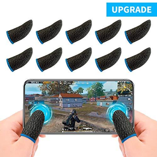 Newseego PUBG Mobile Game Finger Sleeve[10 Pack], Touchscreen Fingerhülse Atmungsaktiv Ultradünn Anti-Sweat Fingerset Empfindliche Shoot-&Ziel-Tasten für Überlebensregeln/Knives Out für Android & IOS