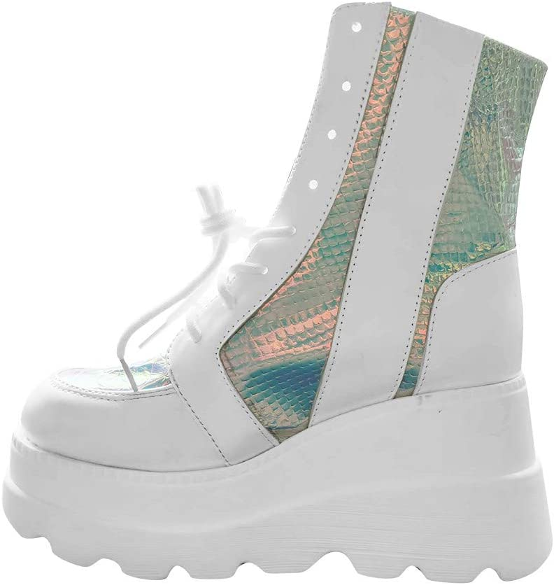Holographic Platform Regular discount Al sold out. Wedges Boots for Lac Women Heel Chunky High