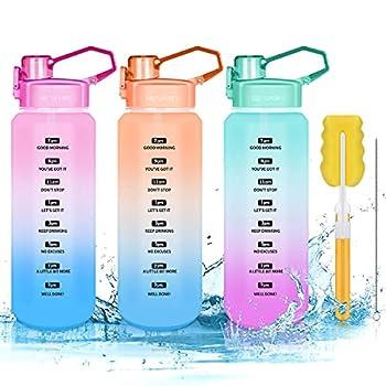 Bouteille d'eau de sport de 2 litres - Sans BPA - Avec temps et paille - Anti-fuite - Grande bouteille avec poignée - Pour le fitness (rose)
