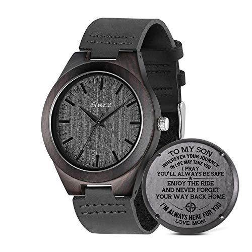 Engraved Watch for Son, BYMAX Men's Ebony Wood Watches, Customize Wooden...