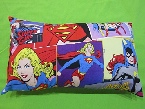 "Power girls PILLOWCASE with pillow, Size 13""x 18"", throw pillow, neck or travel , bed , sofa, stroller, Toddlers. Kids, Hypoallergenic , washable. G"