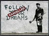 ポスター バンクシー Follow Your Dreams 額装品 アルミ製ハイグレードフレーム(ブラック)