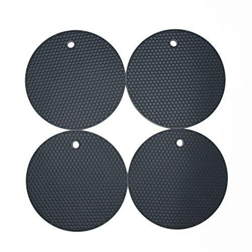 Silikon-Topfuntersetzer in Premium Qualität (4-er Set) / VENDOLO Topflappen dunkel-grau/ hitzebeständig, pflegeleicht, hygienisch, modernes Design