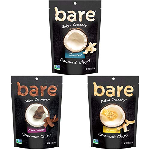 Bare Baked Crunchy Coconut Chips, Variety Pack, Gluten Free, 1.4 Ounce Bag, 6 Count