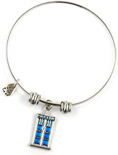 Police Box Bracelet Bangle For Fans of the Popular TV Series Gift for Men Women Boys Girls Police Decor Call Box Policeman Box - Hypoallergenic