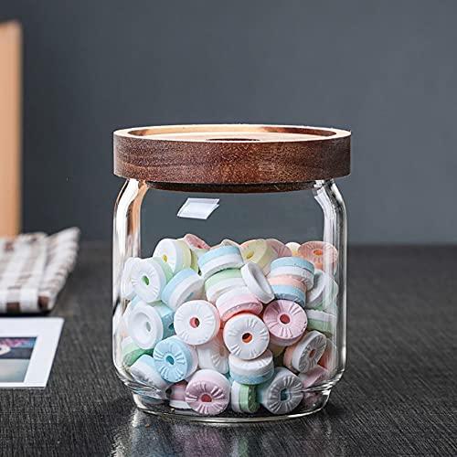 Annfly Tarros de almacenamiento de vidrio Acacia Latas de té con tapas de madera Tarros herméticos de almacenamiento para el hogar, botellas de miel para galletas, café y hierbas (500 ml)