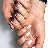 Uñas postizas 24 piezas de prensa falsa en las uñas Color degradado en blanco y negro Desgaste Producto terminado usable cubierta completa puntas de uñas falsas TI